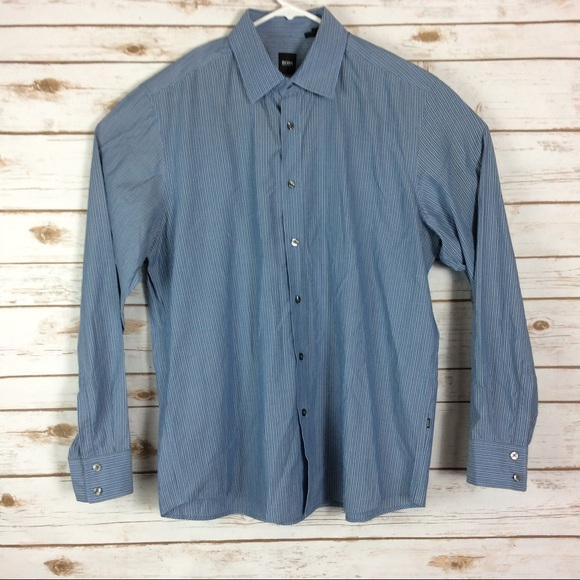 df61b3d0d Hugo Boss Shirts | Boss Mens Xl Blue Striped Long Sleeve | Poshmark
